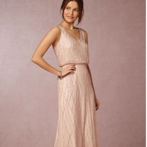 Beautiful BHLDN beaded blush pink gown